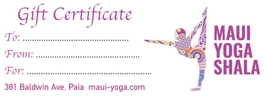 gift certificate maui yoga