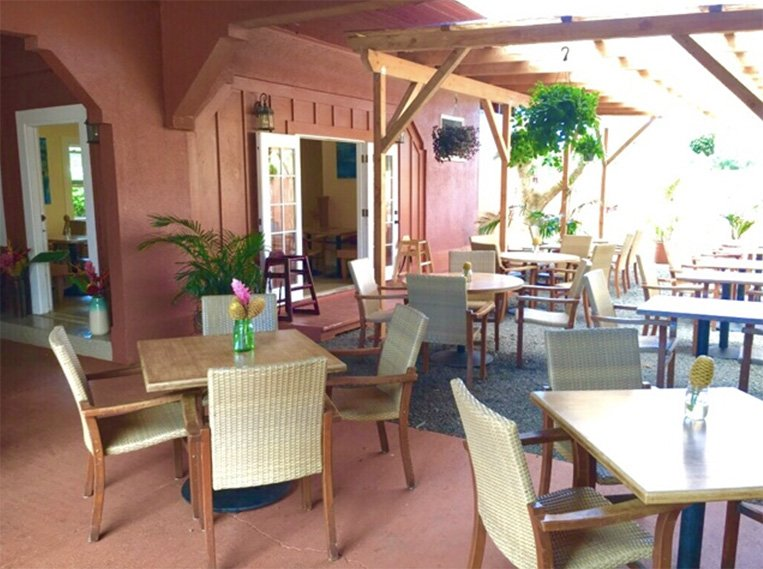 island style seating cafe food restaurants