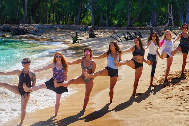 yoga training tree pose beach ocean sea Maui Hawaii