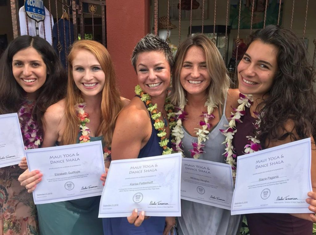 yoga teacher training on Maui graduates and certification