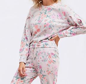 Floral Pleated Sweatshirt