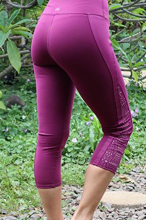 Purple Cut Out Capri Legging