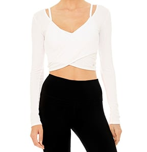 long sleeve crop white